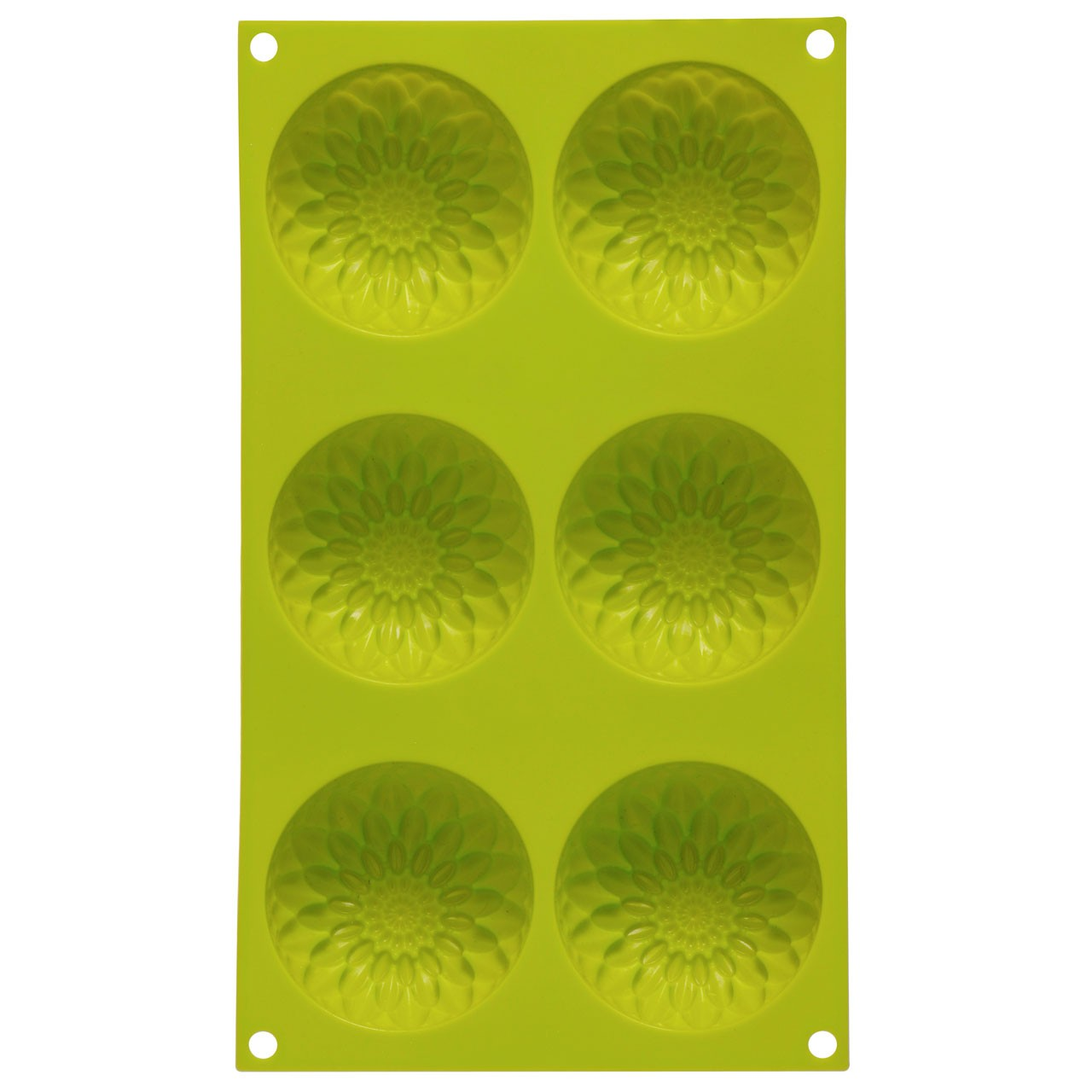 6 Sunflower Designs Cake Mould Lime Green Silicone