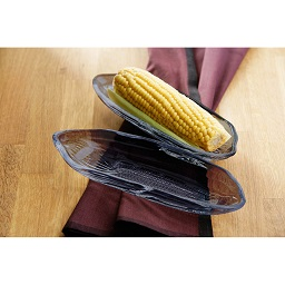 Prime Furnishing Corn on the Cob Dishes, Set of 2, Black Glass