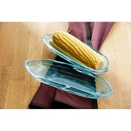 Prime Furnishing Corn on the Cob Dishes, Set of 2, Blue Glass