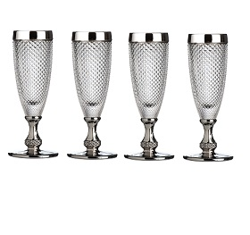 Prime Furnishing Silver Rimmed Champagne Glass - Set Of 4