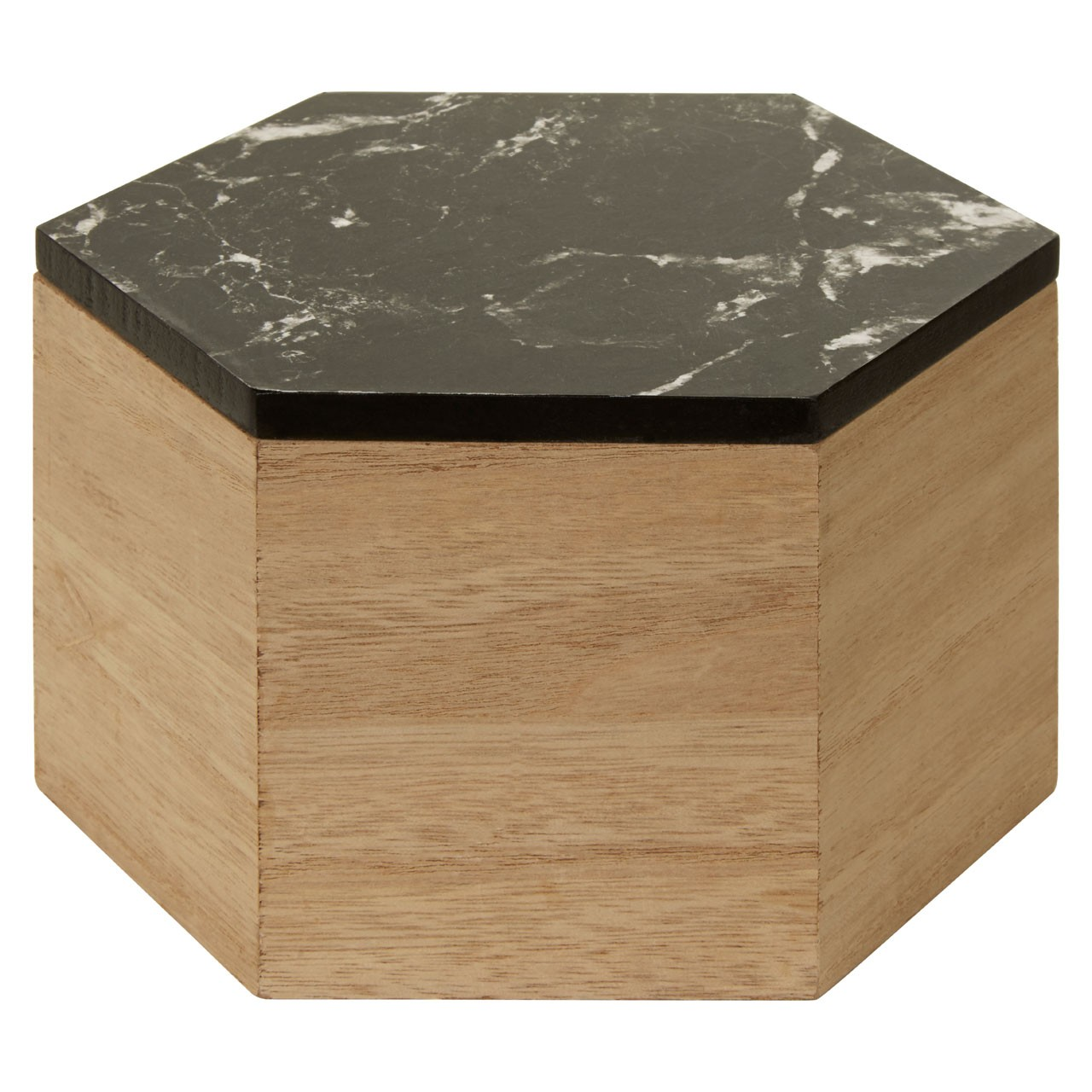 Mimo Black Marble Effect Hexagonal Trinket Box